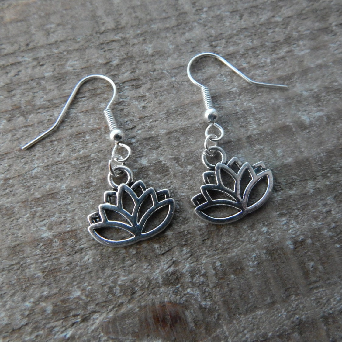 lotus flower earrings silver lotus dangle earrings drop