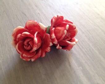 Vintage Pink Rose Clip On Earrings