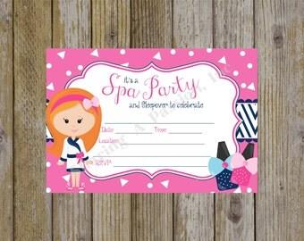 Spa Birthday Party Invitation - Spa Birthday Invitation - Sleepover Party Invitation - Girl Birthday Invitation - Fill In Invitations
