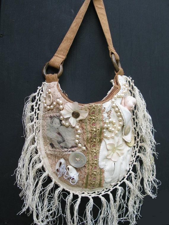 sac a main vintage customis avec les gants anciennes et la. Black Bedroom Furniture Sets. Home Design Ideas