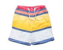 SALE vintage ralph lauren shorts mens polo striped colorblock red yellow white drawstring shorts 30 32