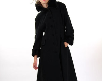Black vintage winter coat, black women coat, size L, 12, winter fashion
