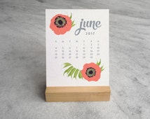 2017 Desk Calendar with Wood Stand, Botanical Illustration, flowers, wildfllowers, floral garland and laurels