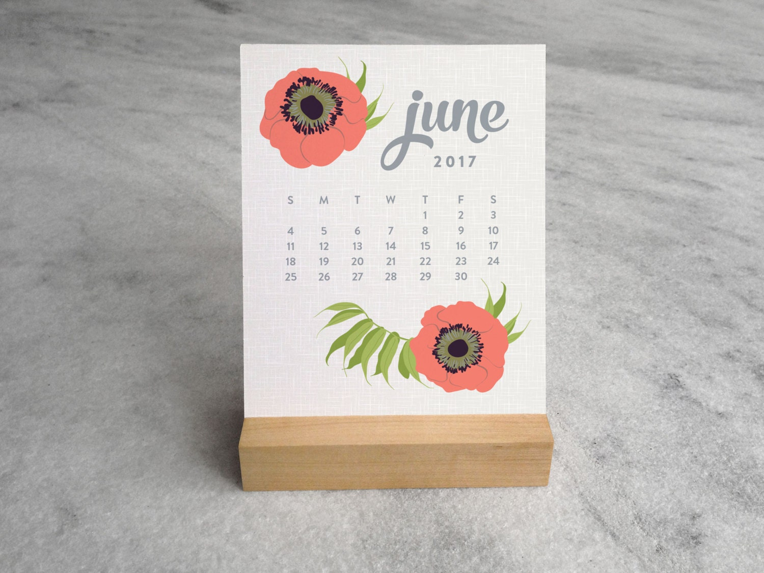 Calendar Wood Stand : Desk calendar with wood stand botanical by favoritestory