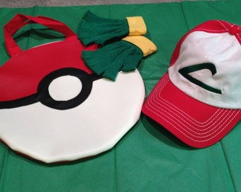 CHILD SET - Pokemon Trainer Costume Set - Ash Ketchum -  Hat/ Poke Ball Bag/ Gloves Accessories - Anime Cosplay