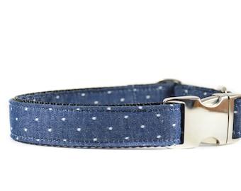 Classic Swiss Dots Collar - Navy and White Swiss Dot Denim Metal Buckle Dog Collar