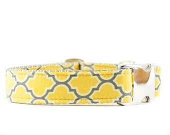 Moroccan Dog Collar - Yellow and Grey Lattice Print Metal Buckle Adjustable Dog Collar