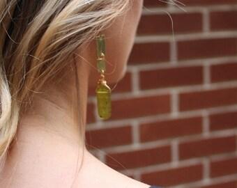 Hand hammered artisan earrings, geometric jewelry, handcut brass, korean jade, hammered jewelry, festival jewelry, gift for her