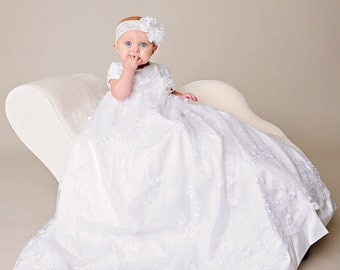 Preslee Heirloom Silk Christening Gown