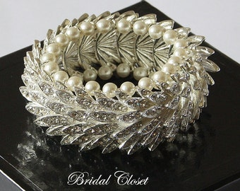 Bridal Bracelet, Shiny Crystal Bracelet, Clear Rhinestone Bracelet, Cuff Wedding Bracelet, Bridal Jewelry, Wedding Accessories