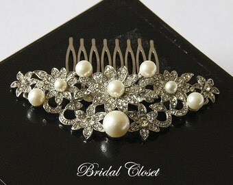 Bridal Hair Comb, Rhinestone Pearl Comb, Crystal Bridal Comb, Wedding Hair Comb, Hair Comb, Wedding Comb, Bridal Headpiece, Bridal Comb