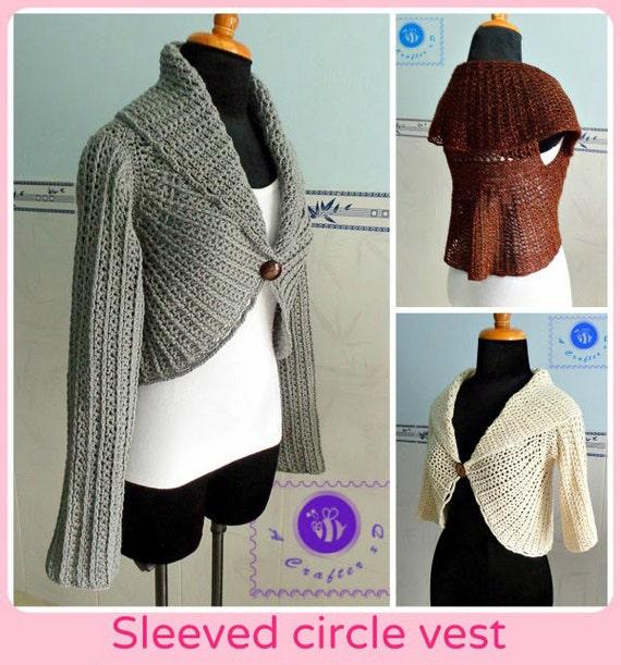 Sleeved circle vest pdf crochet pattern ( size 2XS - 2XL )