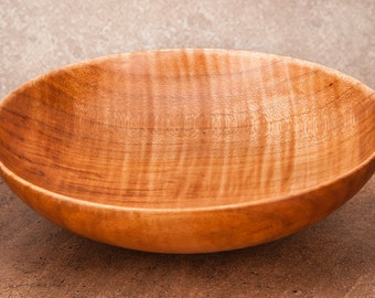Hand Turned 6.75 inch by 2 inch quilted maple bowl