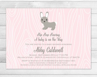 Girl Bunny Rabbit Baby Shower Invitation, Pink Woodland Digital Printable