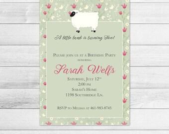 Little Lamb Printable Birthday Party Invitation