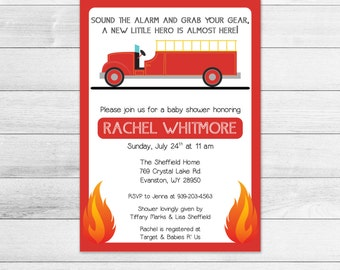 Firetruck Baby Shower Invitation, Fireman, Digital Printable