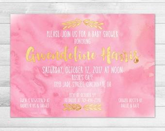 Pink Gold & Pink Baby Shower Invitation, Girl Digital Printable Invite