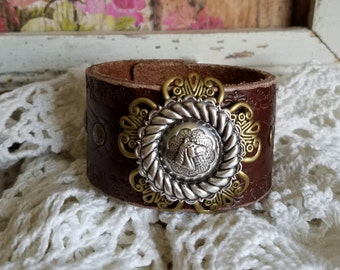 Horse Concho Brown Leather Cuff Bracelet>> #Native #Southwestern #BohoChic #Rustic #Romantic #Country #Longhorn #Cowgirl #Equestrian #Rider
