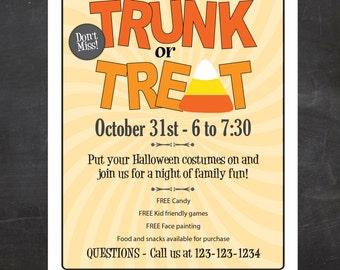 Trunk or Treat Halloween Event Flyer - Custom Printable, Church event, PTO Flyer, PTA Flyer