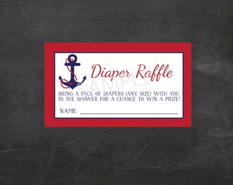 Nautical Red/Blue Baby Shower! Printable Diaper Raffle Tickets (Instant Download)