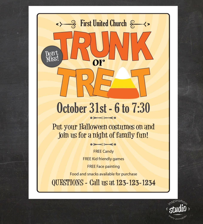 trunk or treat halloween event flyer custom printable