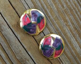 Vintage Enamel Swirl Earrings, Enamel Button Clip-On Earrings, Pink Purple Green Gold Enamel Earrings, 1980s Kitsch Earrings, Estate Jewelry
