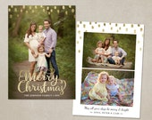 Christmas Card Template -  Photoshop template 5x7 flat card - Gold Minimal CC096 - INSTANT DOWNLOAD