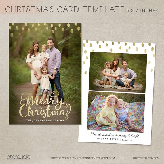 Christmas card template photoshop template 5x7 flat card christmas card template photoshop template 5x7 flat card gold minimal cc096 instant download pronofoot35fo Image collections