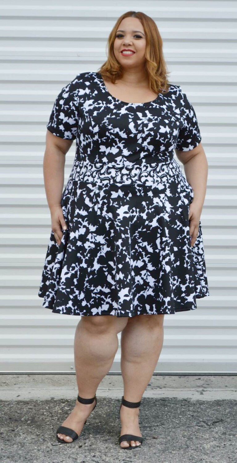 SALE Plus Size Dress, Womans Floral Dress Black and White Plus ...