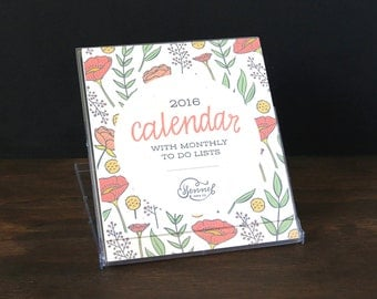 2016 Desk Calendar with clear stand - 2016 calendar - desktop calendar