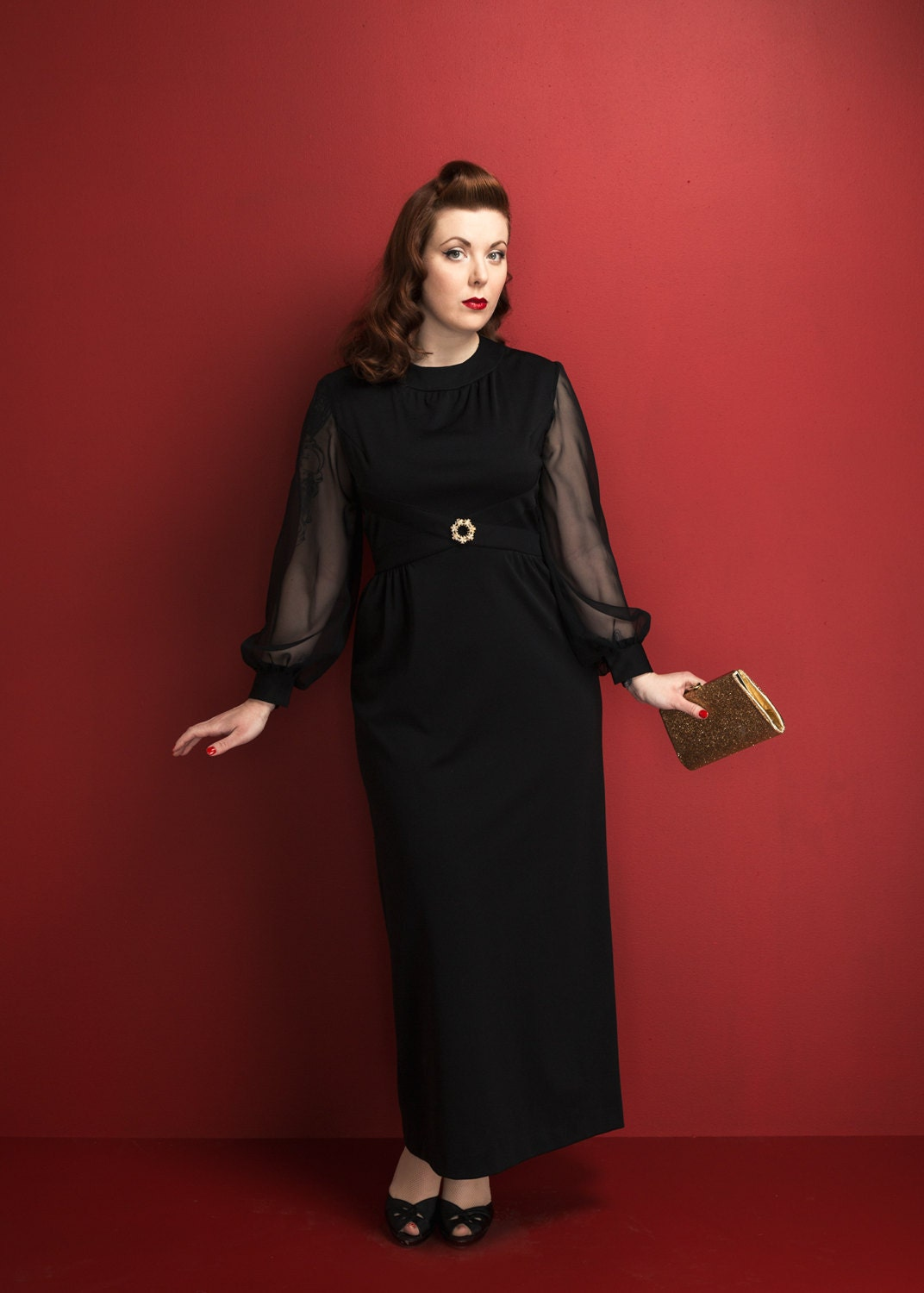 Vintage Black Chiffon Cocktail Dress