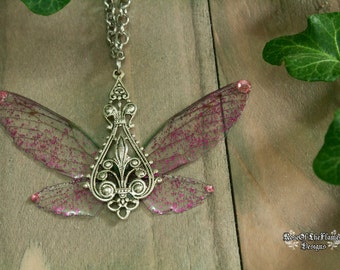 Fairy necklace. Elven necklace. Elf jewelry. Fairy jewelry. Pink wings jewelry. Silver plated. Fairy wings necklace. Fantasy jewelry