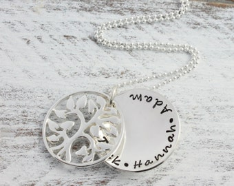 Personalised Family Tree Necklace - Hand Stamped in Sterling Silver