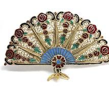 Brooch Hand Held Fan Peacock Filigree Enamel Art Nouveau Painting Silver
