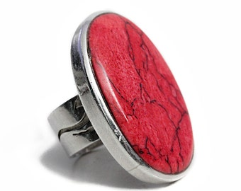 Magnesite Ring Silver Red Gem Red Designer Gemstone