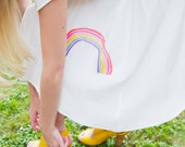 Rainbow White Dress - Silk Crepe de Chine - Handmade, hand dyed and painted by hand