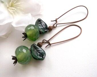 Apple dangle woodland earrings green earrings green stone earrings gift for her girlfriend gift design earrings apple jewelry green jewelry
