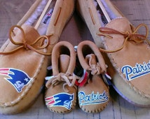 Custom Daddy and Me New England Patriots Minnetonka Slippers and Baby Booties