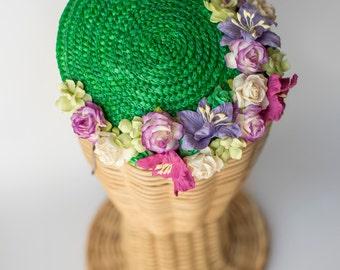 Straw mini hat · flowers millinery headpiece · wedding guest fascinator· bridal flowers · Green