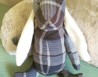 Up-cycled Grey Flannel Bunny Toy