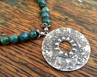 Large Circular Sterling Silver Pendant Necklace with Green Moss Agate Stone Beads
