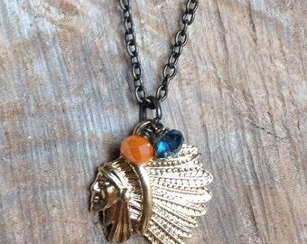 Illini Necklace, University of illinois Jewelry, Chief Illiniwek Necklace, UofI Jewelry, Fighting Illini Football, Illini Jewelry, U of I