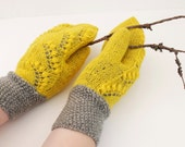 Hand knitted yellow grey mittens, Warm wool mittens, Winter yellow grey mittens, Thick wool yellow mittens, Double yellow gray mittens