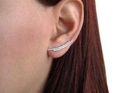 Pair of sterling silver ear climber earrings, minimalist jewelry, hypoallergenic ear cuff earrings, silver ear crawlers, modern earrings