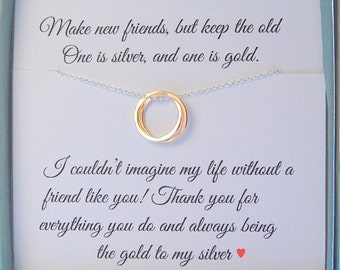 Best Friend gift necklace, Silver and Gold necklace, Mixed metals, BFF gift, friendship gift