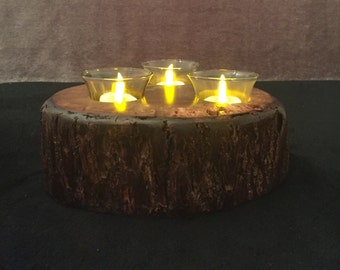 Black Walnut 3 Tea Light Votive Candle Holder