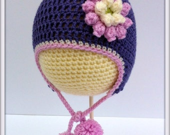Crochet Flower Baby Pompom Earflap Hat.  Various sizes.
