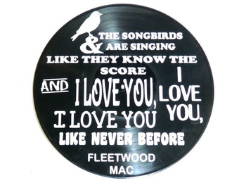 Vinyl Record with Fleetwood Mac Songbird lyrics music lyric art song lyric art vinyl record art music lovers gift