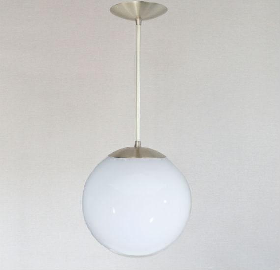 Mid Century Modern 10 Globe Pendant Light White Glass By