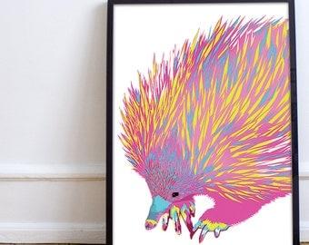 "A4 ""Echidna"" geometric art print - neon"